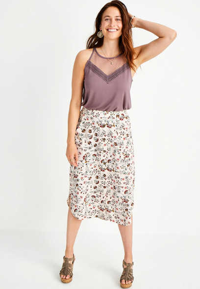 Floral Button Front Shirttail Hem Midi Skirt