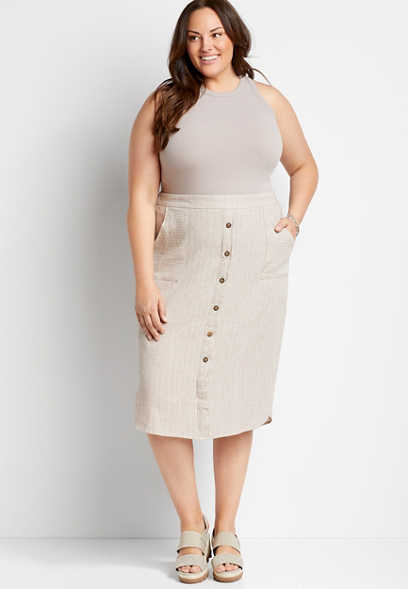 Plus Size Linen Button Front Midi Skirt
