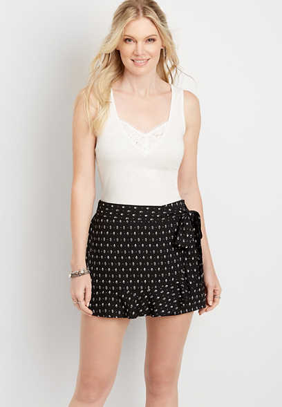 Black and White Printed Skort