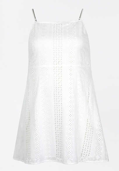 Plus Size White Eyelet Lace Mini Dress