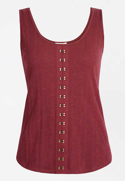 Solid Hook and Eye Tank Top