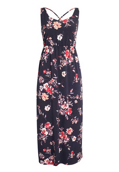 Blue Floral Strappy Back Maxi Dress