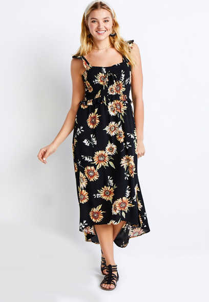 Black Floral High Low Flutter Strap Maxi Dress