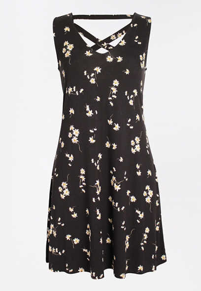 24/7 Black Floral Strappy Back Dress