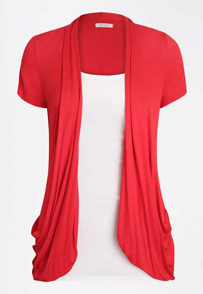 Red Short Sleeve Slouchy Pocket Cardigan