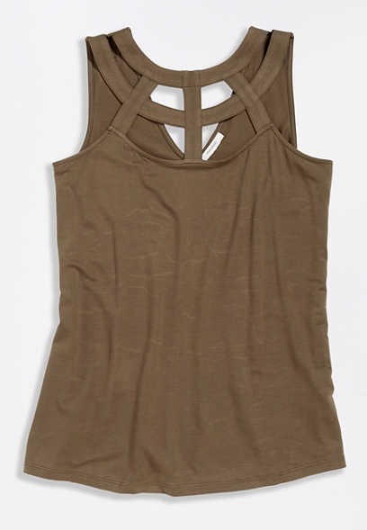 Olive Strappy Neck Tank Top