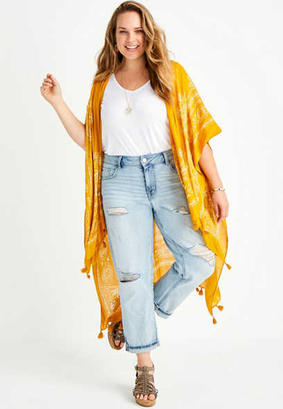 Plus Size Vintage High Rise Belted Cropped Boyfriend Jean