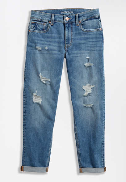 Medium Wash Destructed Boyfriend Cropped Jean