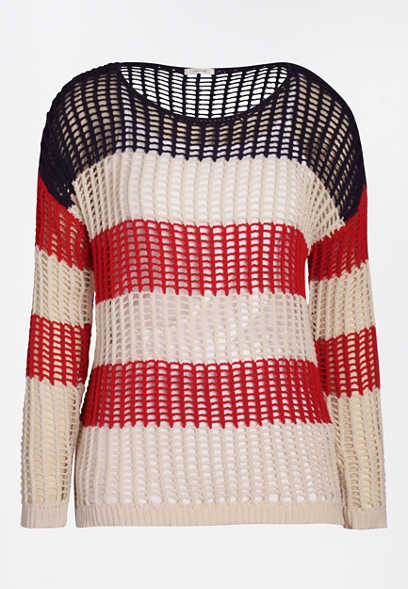 Red, White & Blue Striped Americana Pullover