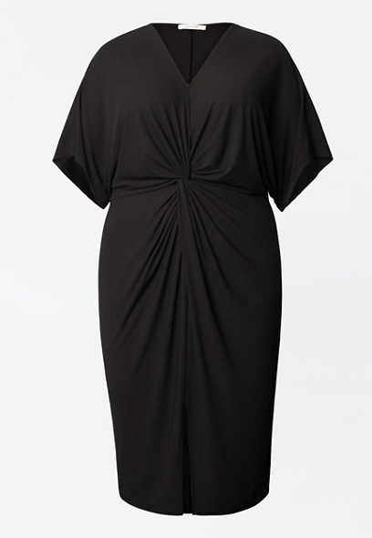 Plus Size Black Knot Front Sheath Dress