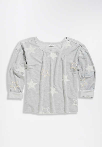Heather Gray Star Raw Edge Sweatshirt