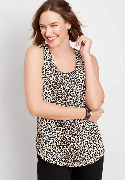 24/7 leopard scoop neck tank