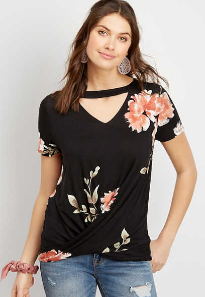 24/7 Black Floral Cut Out Twisted Hem Tee