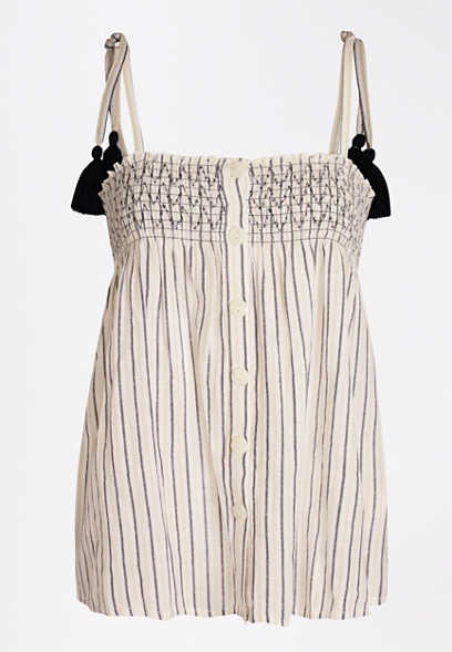 Stripe Button Front Tassel Tank Top