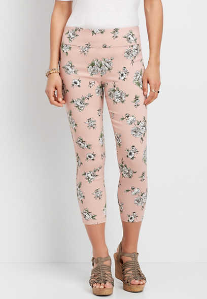 Floral Pull On Bengaline Crop Pant