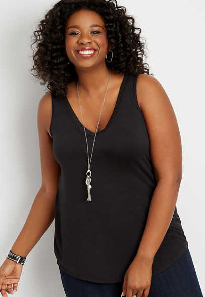 Plus Size 24/7 Solid V-Neck Tank