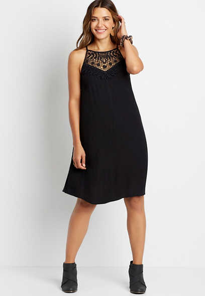 Black Crochet Neck Shift Dress