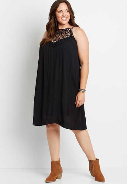 Plus Size Black Crochet Neck Shift Dress