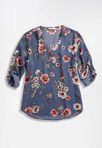 Blue Floral Double Button Blouse