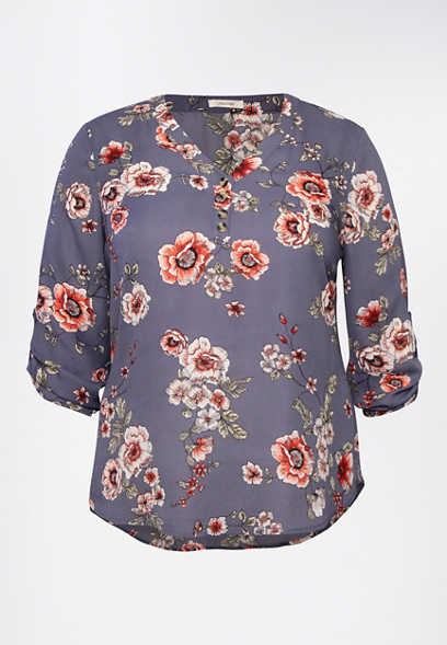 Plus Size Blue Floral Double Button Blouse