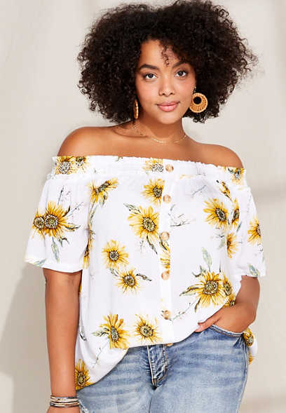 Plus Size Sunflower Tiered Off The Shoulder Top
