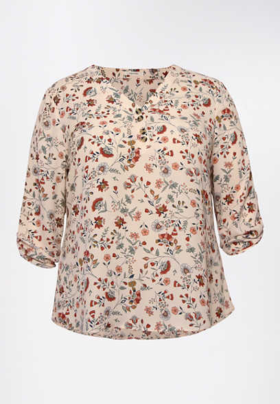 Plus Size Floral Double Button Blouse