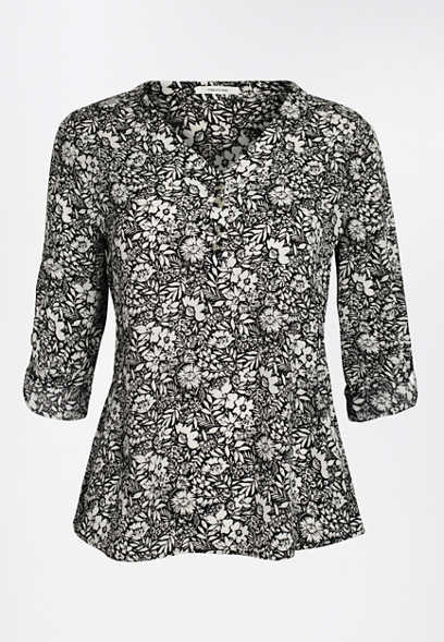 Black Floral Double Button Blouse
