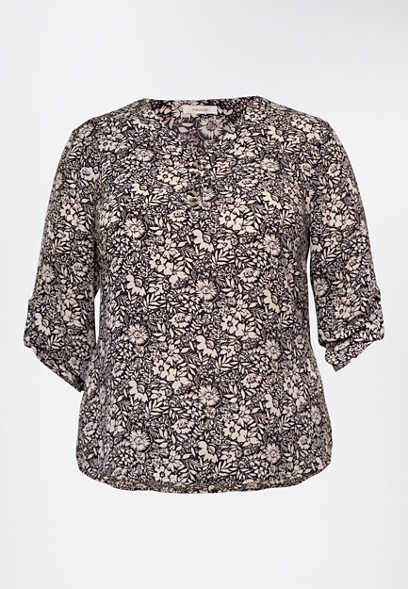 Plus Size Black Floral Double Button Blouse