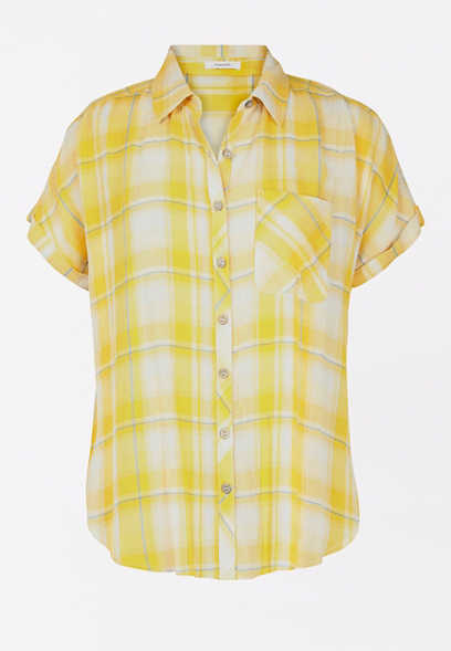 Yellow Plaid Short Sleeve Button Down Shirt