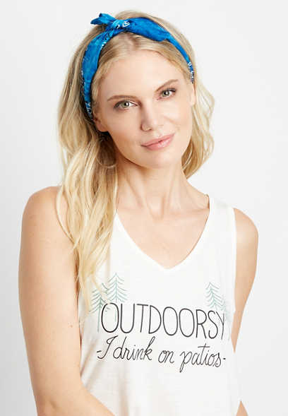 White Outdoorsy Graphic Tank Top