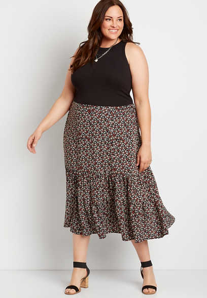 Plus Size Ditsy Floral Midi Skirt