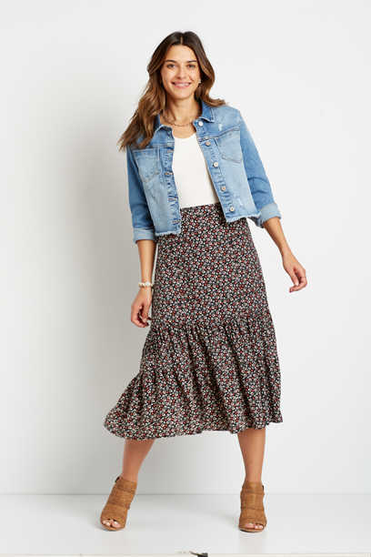 Ditsy Floral Midi Skirt
