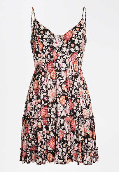 Floral Tie Front Babydoll Swing Dress