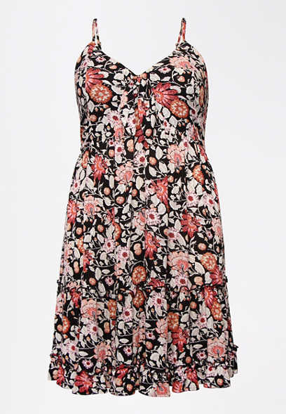 Plus Size Floral Tie Front Babydoll Swing Dress