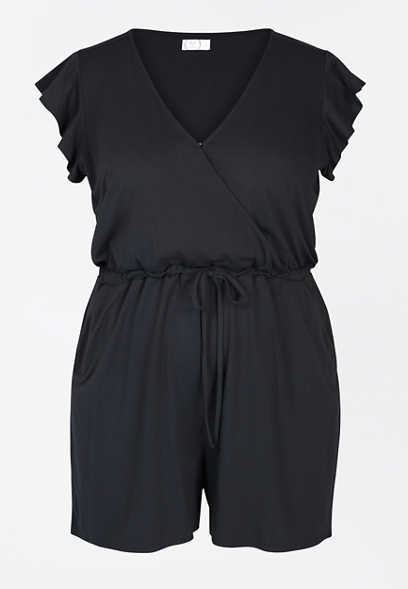 Plus Size Black V Neck Flutter Sleeve Romper