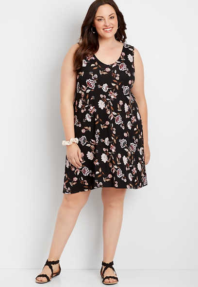 Plus Size 24/7 Paisley Floral Strappy Back Dress