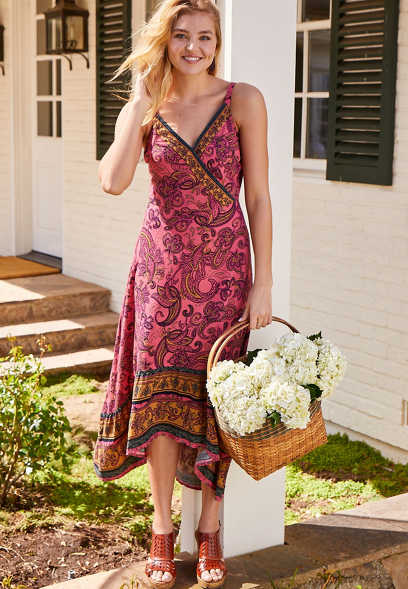 Paisley High Low Midi Dress