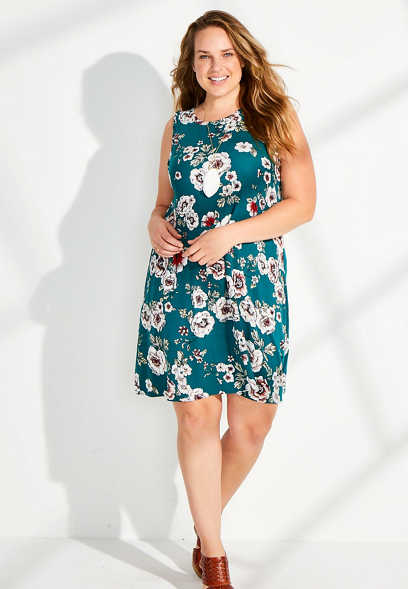 Plus Size 24/7 Floral Twisted Arm Shift Dress