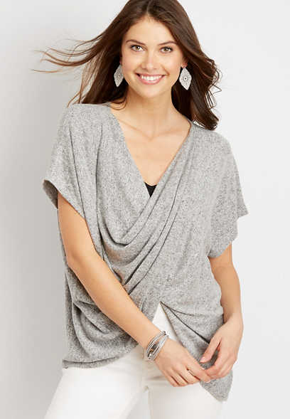 Short Sleeve Wrap Front Top