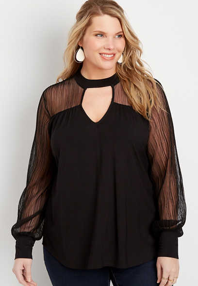 Plus Size Cut Out Mesh Sleeve Top
