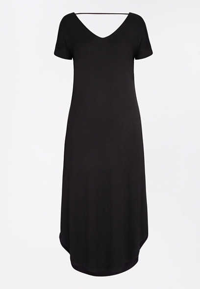 Solid Circle Hem Maxi Dress