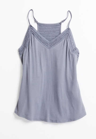 24/7 Solid Crochet Trim Tank Top