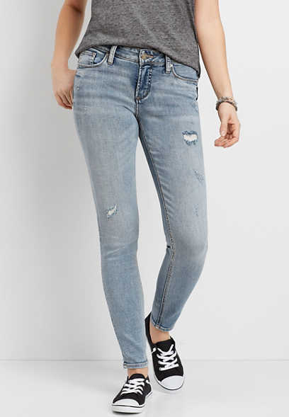 Silver Jeans Co.® Suki Medium Wash Destructed Skinny Jean