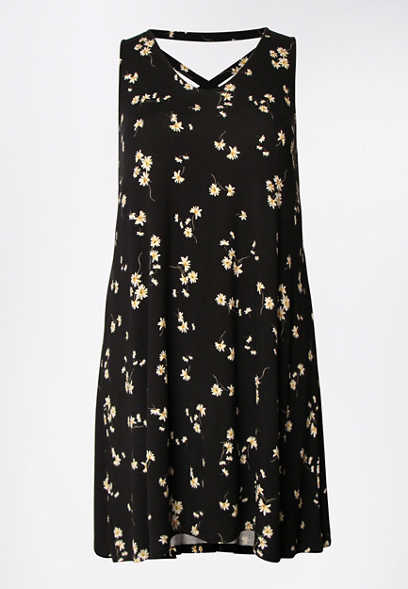 Plus Size Black Floral Strappy Back Dress