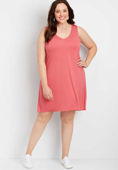 Plus Size 24/7 Solid Strappy Back Dress