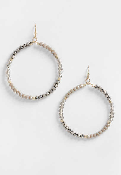 Gray Beaded Hoop Earrings