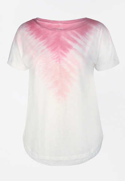 24/7 Pink Chevron Tie Dye Drop Shoulder Tee