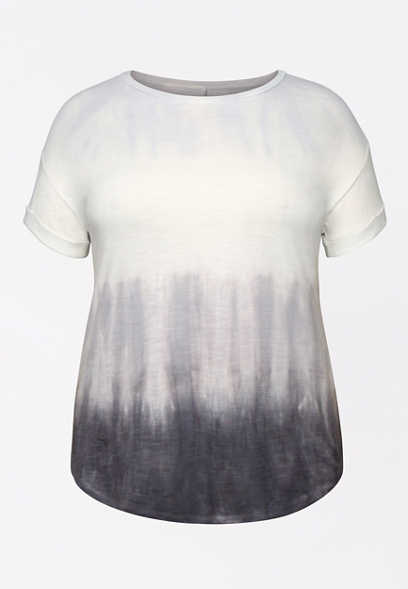 Plus Size 24/7 Tie Dye Stripe Drop Shoulder Tee