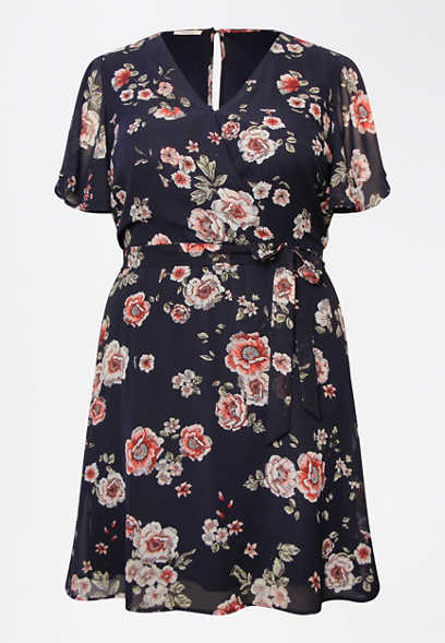 Plus Size Blue Floral Print Wrap Dress