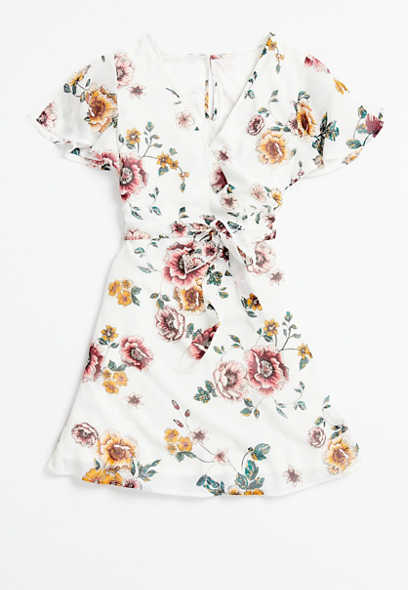 Plus Size White Floral Print Wrap Dress